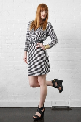 Joie January Belted Dress in Porcelain Caviar Stripes $198 thestylecure.com