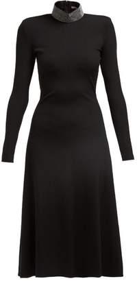 Christopher Kane Crystal Embellished Ribbed Jersey Midi Dress - Womens - Black