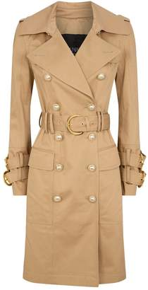 Balmain Gold-Tone Button Gabardine Trench Coat