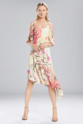Josie Natori Printed Silky Soft Ruffle Sleeve Dress