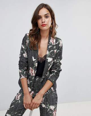Paper Dolls floral check blazer two-piece in multi color