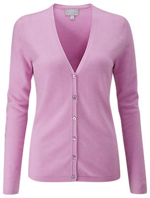 Pure Collection Cashmere V-Neck Cardigan, Lilac