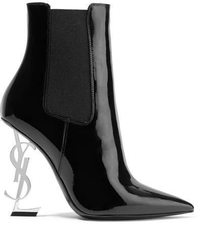 Saint Laurent - Opyum Patent-leather Ankle Boots - Black