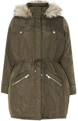 Dorothy Perkins Womens **DP Curve Khaki Faux Fur Parka Coat