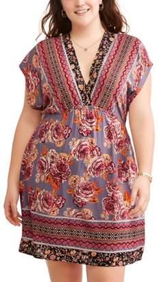 Romantic Gypsy Women's Plus Short Sleeve Floral Border Print Dress