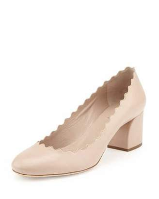 Chloe Scalloped Leather Pump, Light Pink $575 thestylecure.com