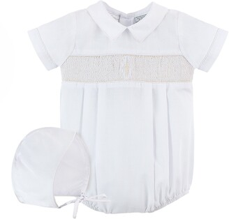 Carriage Boutique Smocked Christening Bodysuit & Bonnet Set
