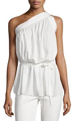 Helmut Lang One-Shoulder Silk-Blend Top, Ivory $380 thestylecure.com