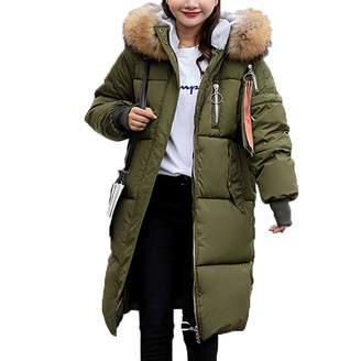 OGOUGUAN Women's Long Down Coat with Faux Fur Hood Winter Coat Down Jackets (, L)