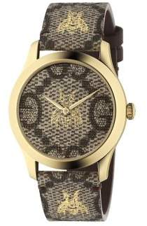 Gucci Embroidered Bee Goldtone Stainless Steel and Leather Strap Watch