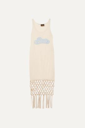 Loewe Paula's Ibiza Embellished Macramé-trimmed Silk And Cotton-blend Jersey Dress - Ivory