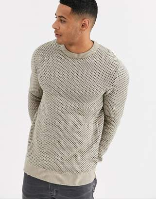 ONLY & SONS pattern crew neck sweater in sand