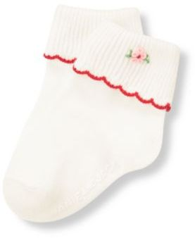 Janie and Jack Hand-Embroidered Flower Sock