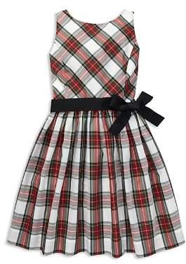 Ralph Lauren Girls' Taffeta Plaid Dress with Sash - Little Kid