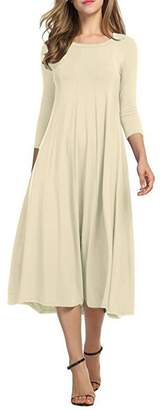 YMING Women's Casual 3/4 Sleeves Pleated Front Loose Flared Midi Dress L