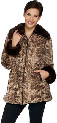 Dennis Basso Woven Zip Front Brushed Faux Fur Anorak Coat