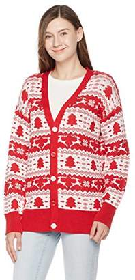 Ugly Fairisle Unisex Adult Vee Neck Button Down Jacquard Christmas Cardigan M Red/White