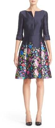 Women's Oscar De La Renta Chine Garden Silk & Cotton Mikado Dress $2,490 thestylecure.com