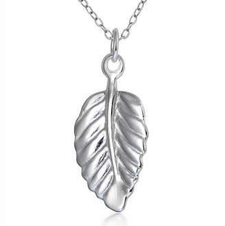 SILVER TREASURES Sterling Silver Leaf Pendant Necklace