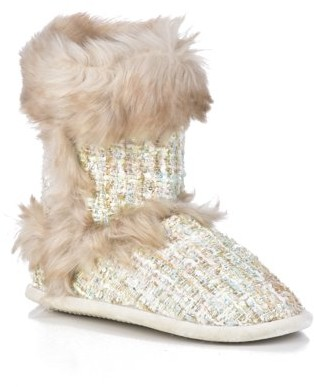 Dearfoams Women's Sequined Tweed Boot