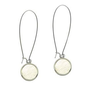 N'Damus London - Silverdale Gold Leather & Steel Drop Earrings