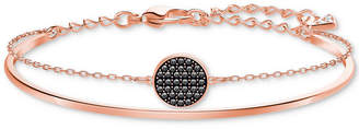 Swarovski Rose Gold-Tone Clear & Jet Crystal Disc Double-Row Bangle Bracelet
