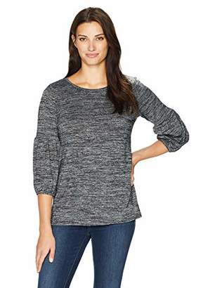 Chaus Women's 3/4 Sleeve Space Dye Jersey Top