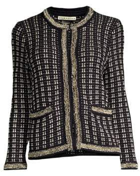 Alice + Olivia Georgia Embellished Tweed Cardigan