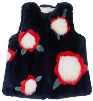 Yves Salomon Floral Rabbit Fur Gilet