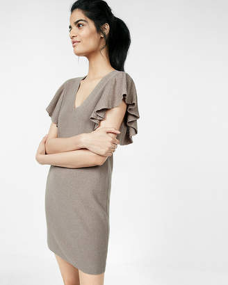 Express Ruffle Sleeve Deep V-Neck Sweater Dress