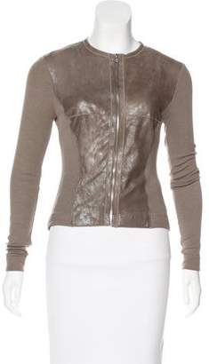 Illia Leather-Trimmed Knit Jacket
