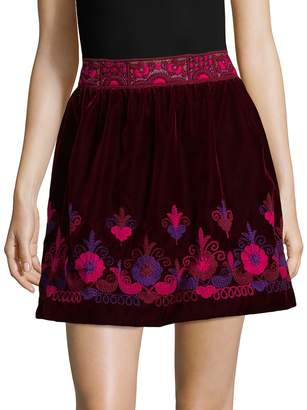 Anna Sui Women's Embroidered Mini Skirt