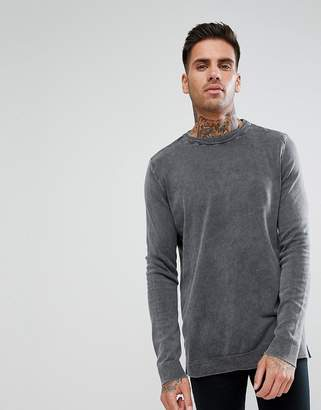 New Look Sweater In Acid Wash Gray