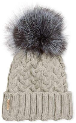 690b8a9f Gorski Cashmere Cable Knit Beanie w/ Fox Fur Pompom