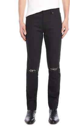 Saint Laurent Black Rip-and-Repair Skinny Jeans