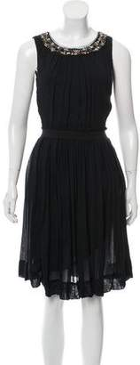 Robert Rodriguez Embellished Collar Knee-Length Dress