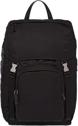 Prada Black Nylon And Saffiano Leather Backpack
