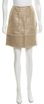 Oscar de la Renta Metallic Linen Skirt