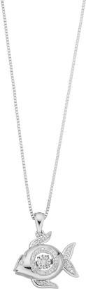Sterling Silver 1/10 Carat T.W. Diamond Fish Pendant Necklace