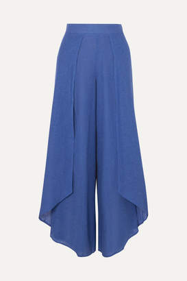 Vix Edna Layered Linen-blend Voile Wide-leg Pants - Royal blue