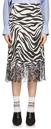 Chloé Women's Embroidered-Hem Zebra-Print Skirt