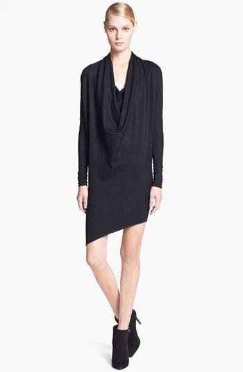Helmut Lang Cowl Drape Neck Wool Dress