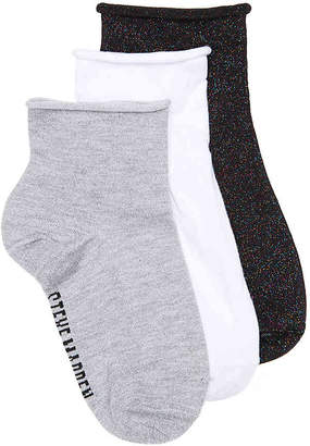 Steve Madden Roll Top Lurex Ankle Socks - 3 Pack - Women's