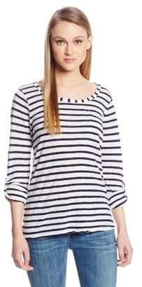 Splendid Women's Navy Classic Venice Stripe Long Sleeve Top,(Manufacturer Size:Medium)