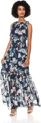 Vince Camuto Women's Floral Chiffon Ruffle Maxi