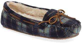 Minnetonka Cally Plaid Faux Fur Lined Slipper