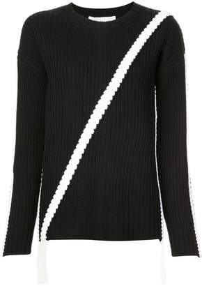 Derek Lam 10 Crosby Crewneck Sweater with Asymmetric Braid Detail