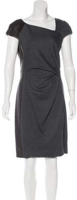 J. Mendel Leather-Accented Wool-Blend Dress