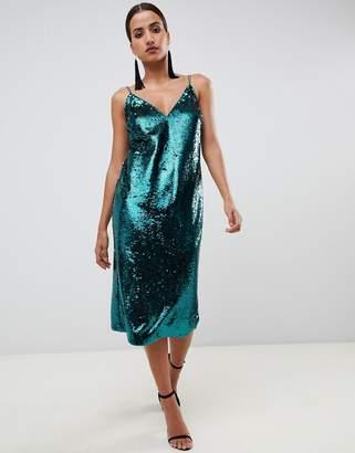 Asos Design DESIGN all over sequin midi cami dress