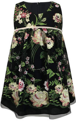 Helena Sleeveless Floral-Embroidered Dress, Size 7-14